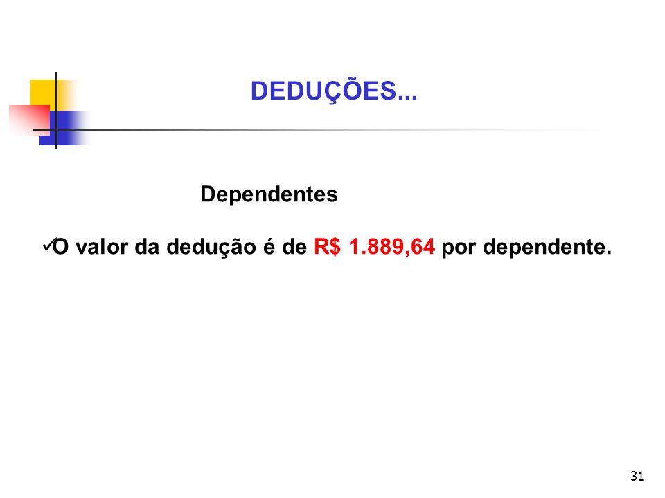 DEDUÇÕES... Dependentes O valor da dedução é de R$ 1.889,64 por dependente.