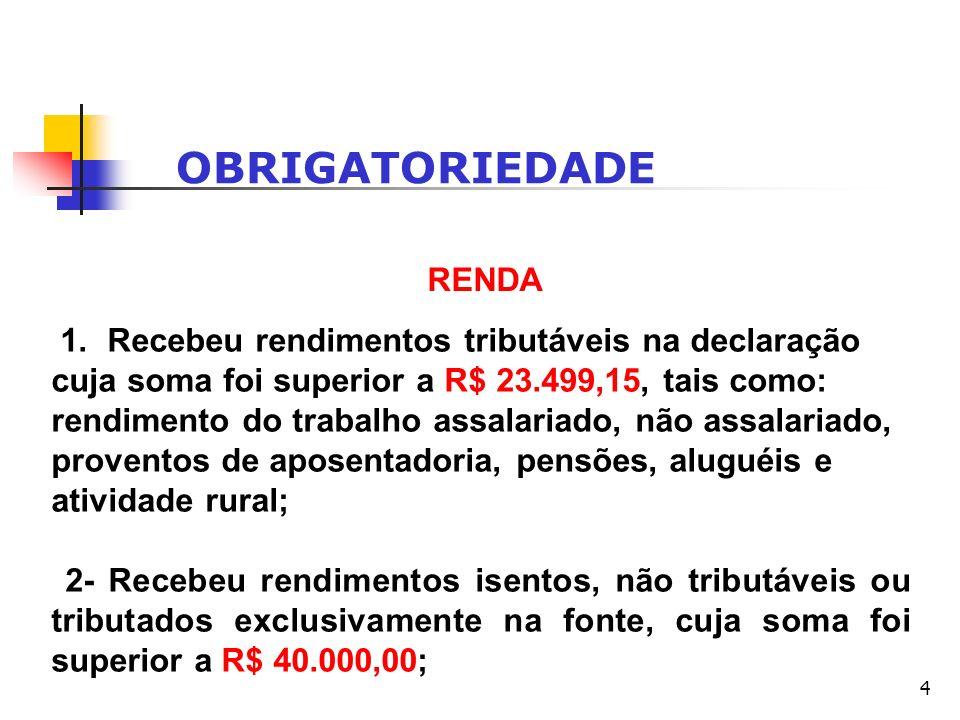 OBRIGATORIEDADE RENDA