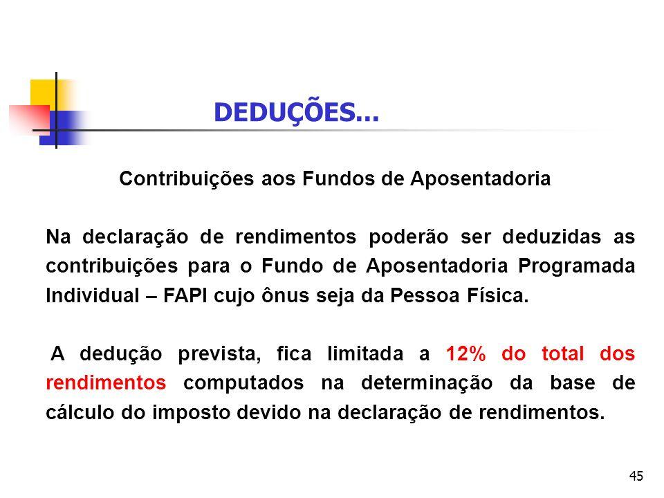 DEDUÇÕES... Contribuições aos Fundos de Aposentadoria