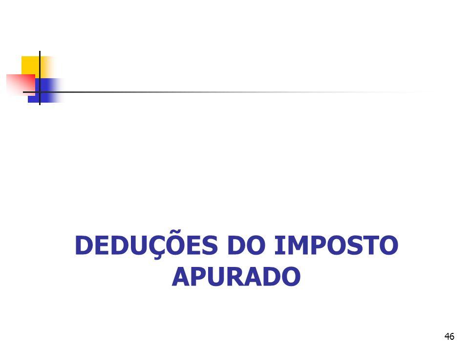 DEDUÇÕES DO IMPOSTO APURADO