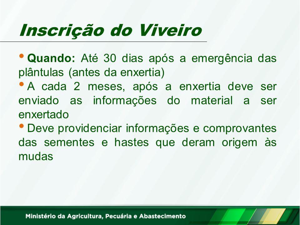 Inscrição do Viveiro Quando: Até 30 dias após a emergência das plântulas (antes da enxertia)
