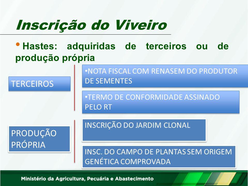 Inscrição do Viveiro Hastes: adquiridas de terceiros ou de produção própria. NOTA FISCAL COM RENASEM DO PRODUTOR DE SEMENTES.