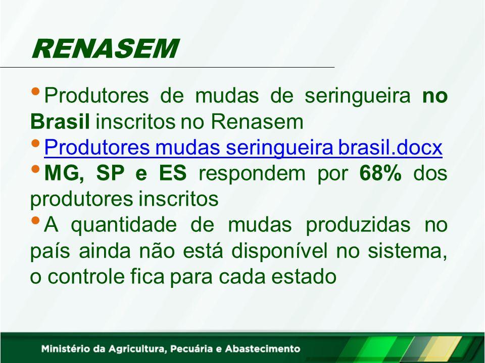 RENASEM Produtores de mudas de seringueira no Brasil inscritos no Renasem. Produtores mudas seringueira brasil.docx.