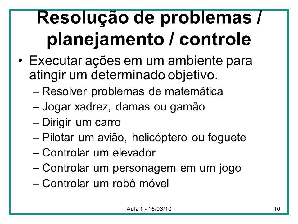 Resolução de problemas / planejamento / controle