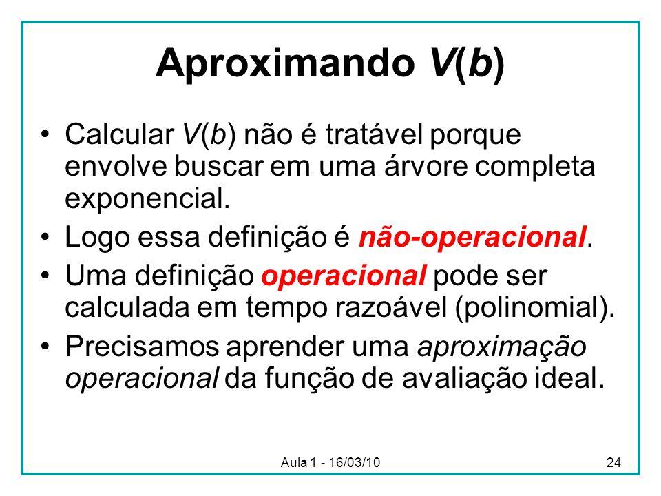 Aproximando V(b) Calcular V(b) não é tratável porque envolve buscar em uma árvore completa exponencial.
