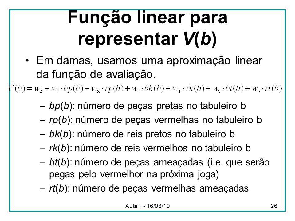 Função linear para representar V(b)