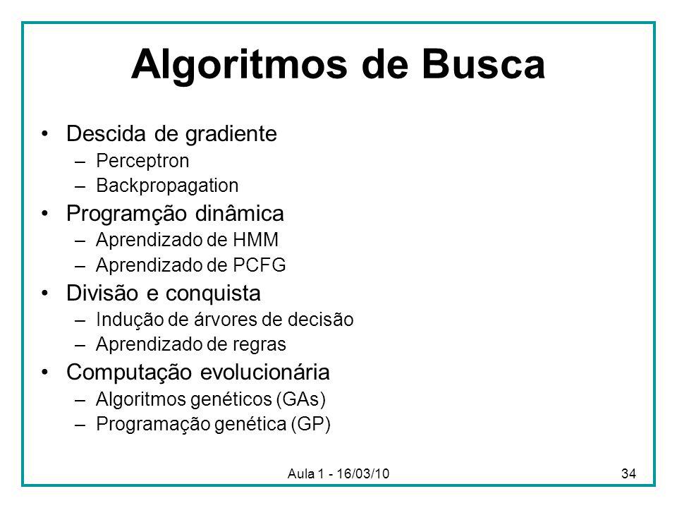 Algoritmos de Busca Descida de gradiente Programção dinâmica