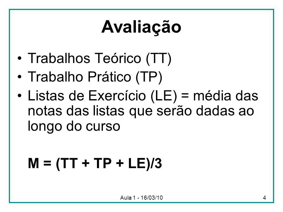 Avaliação Trabalhos Teórico (TT) Trabalho Prático (TP)