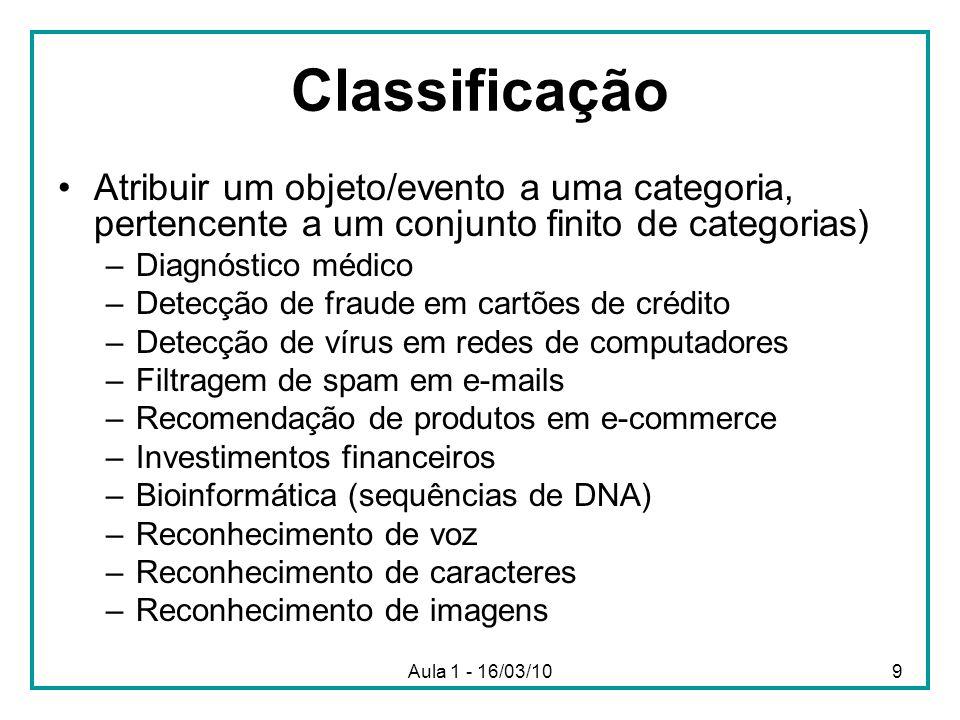 Classificação Atribuir um objeto/evento a uma categoria, pertencente a um conjunto finito de categorias)