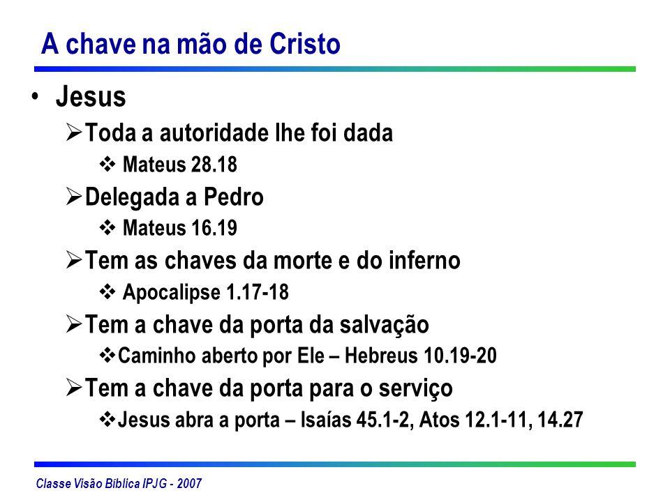 A chave na mão de Cristo Jesus Toda a autoridade lhe foi dada