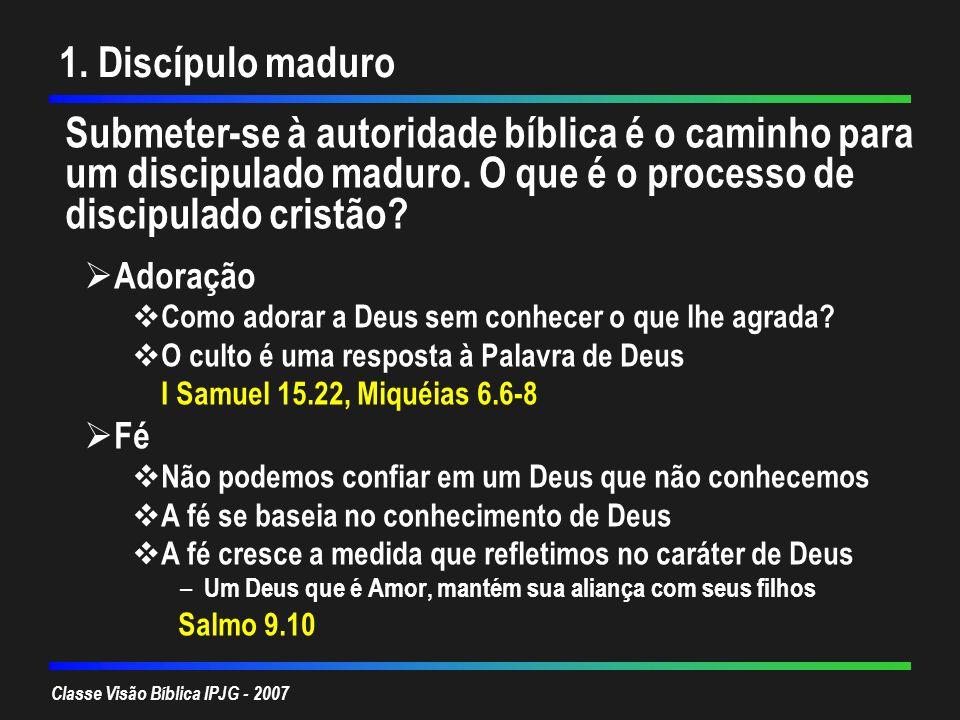 1. Discípulo maduro Submeter-se à autoridade bíblica é o caminho para um discipulado maduro. O que é o processo de discipulado cristão