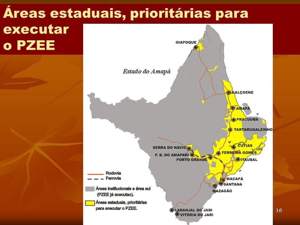 Áreas estaduais, prioritárias para executar o PZEE