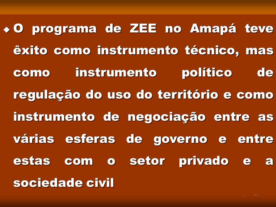 O programa de ZEE no Amapá teve êxito como instrumento técnico, mas como instrumento político de regulação do uso do território e como instrumento de negociação entre as várias esferas de governo e entre estas com o setor privado e a sociedade civil