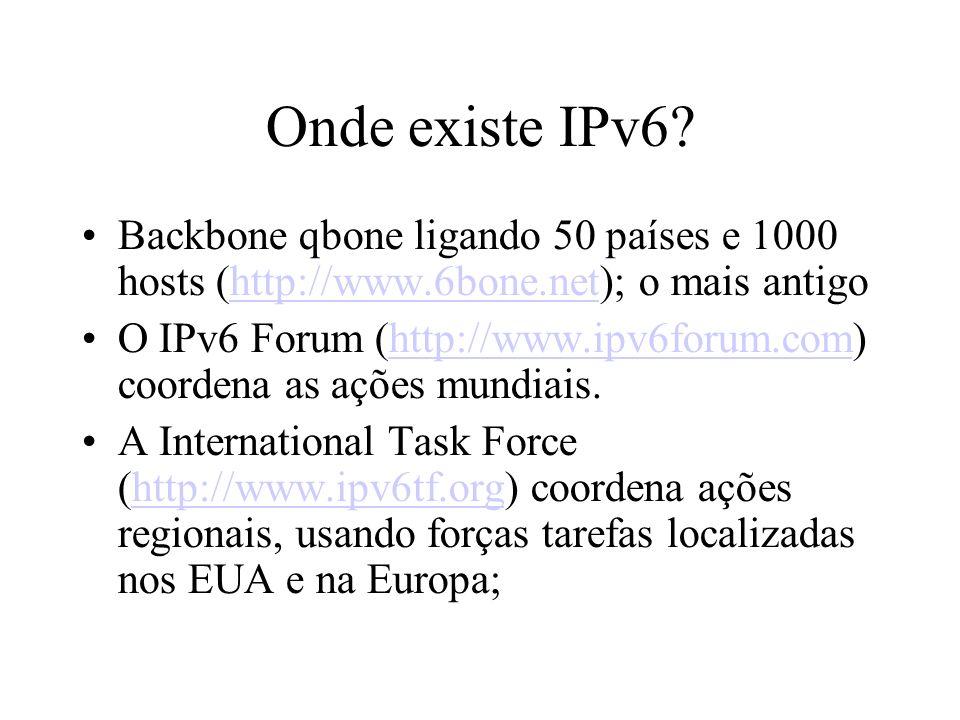 Onde existe IPv6 Backbone qbone ligando 50 países e 1000 hosts (http://www.6bone.net); o mais antigo.