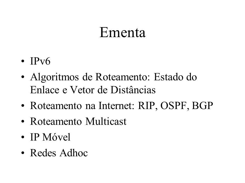 Ementa IPv6. Algoritmos de Roteamento: Estado do Enlace e Vetor de Distâncias. Roteamento na Internet: RIP, OSPF, BGP.