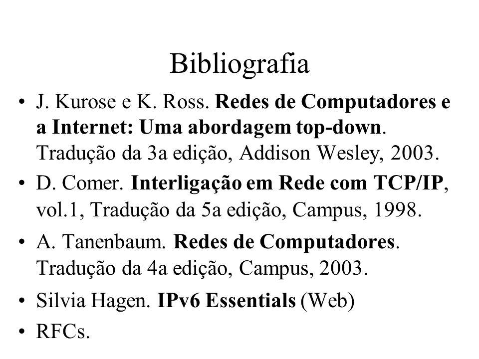 Bibliografia J. Kurose e K. Ross. Redes de Computadores e a Internet: Uma abordagem top-down. Tradução da 3a edição, Addison Wesley, 2003.