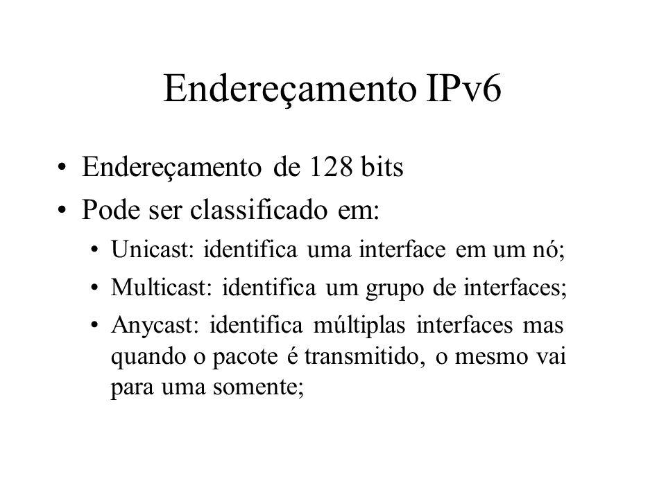 Endereçamento IPv6 Endereçamento de 128 bits Pode ser classificado em: