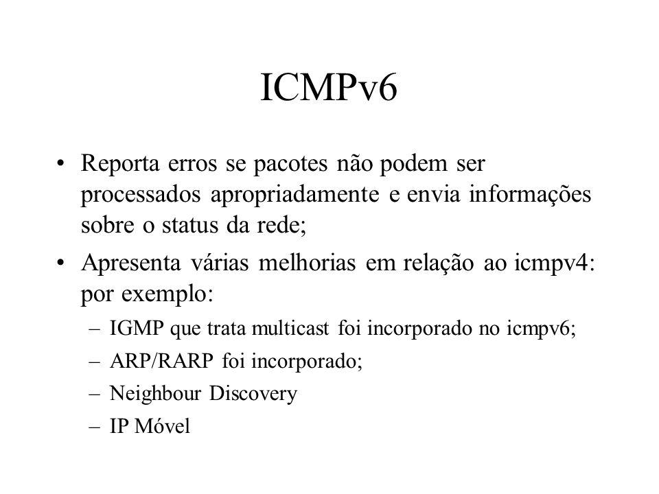 ICMPv6 Reporta erros se pacotes não podem ser processados apropriadamente e envia informações sobre o status da rede;