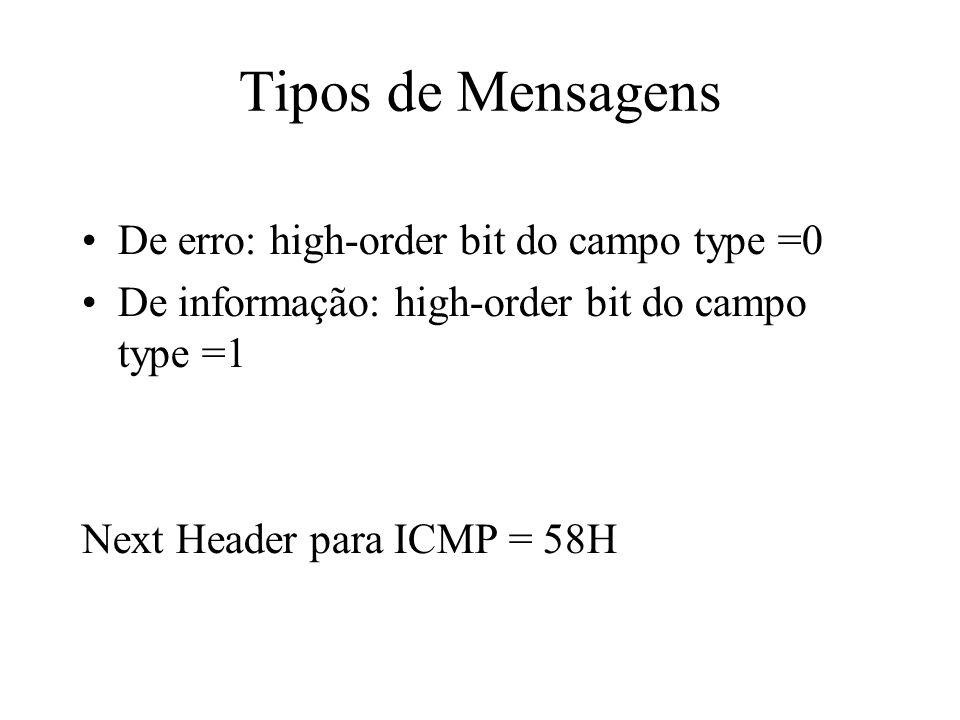 Tipos de Mensagens De erro: high-order bit do campo type =0