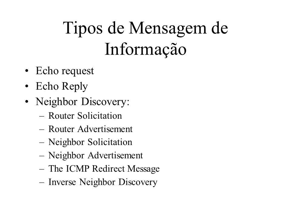Tipos de Mensagem de Informação