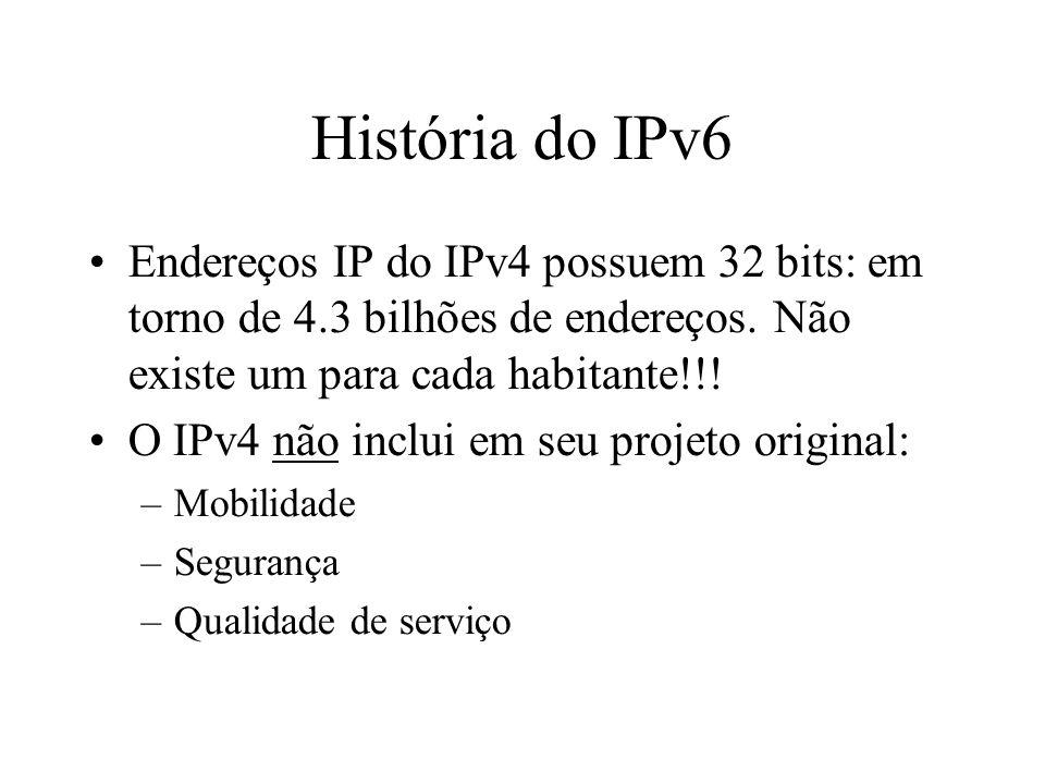 História do IPv6 Endereços IP do IPv4 possuem 32 bits: em torno de 4.3 bilhões de endereços. Não existe um para cada habitante!!!