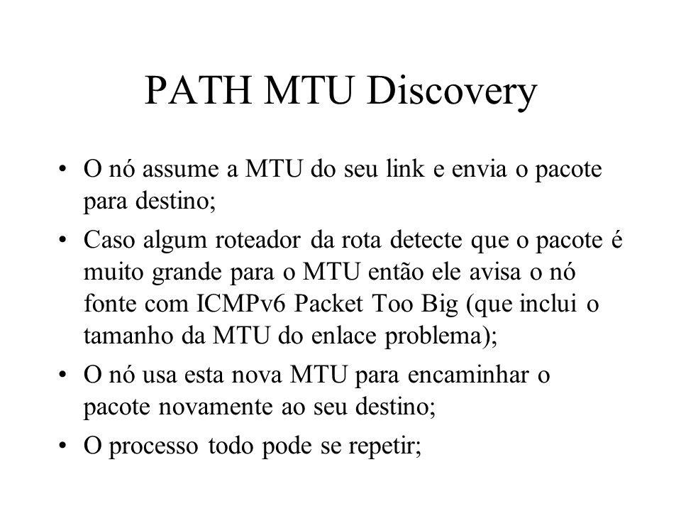 PATH MTU Discovery O nó assume a MTU do seu link e envia o pacote para destino;