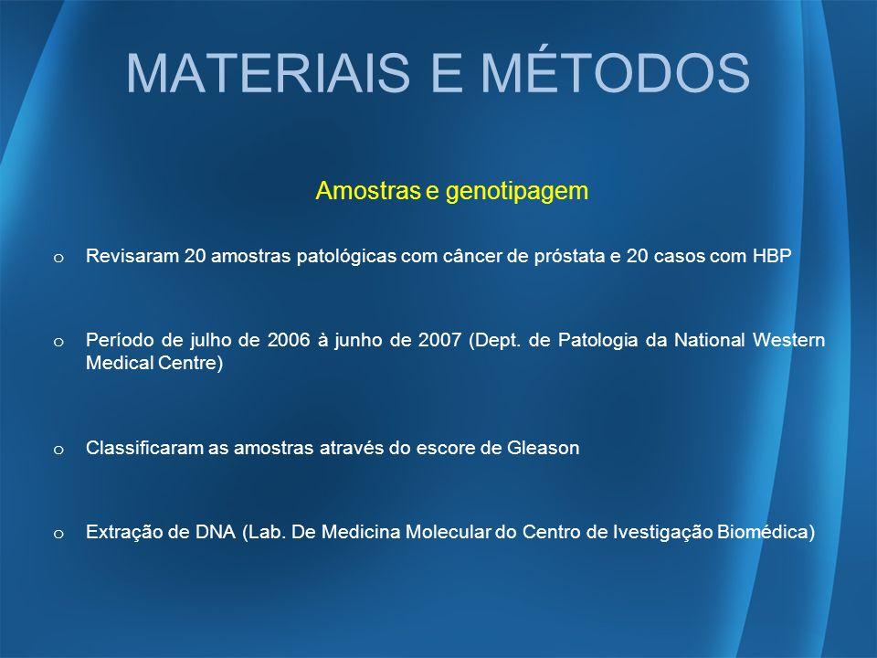 MATERIAIS E MÉTODOS Amostras e genotipagem