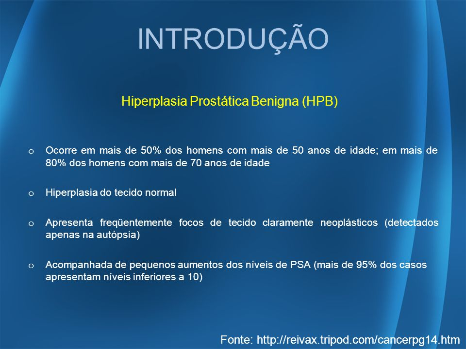 INTRODUÇÃO Hiperplasia Prostática Benigna (HPB)