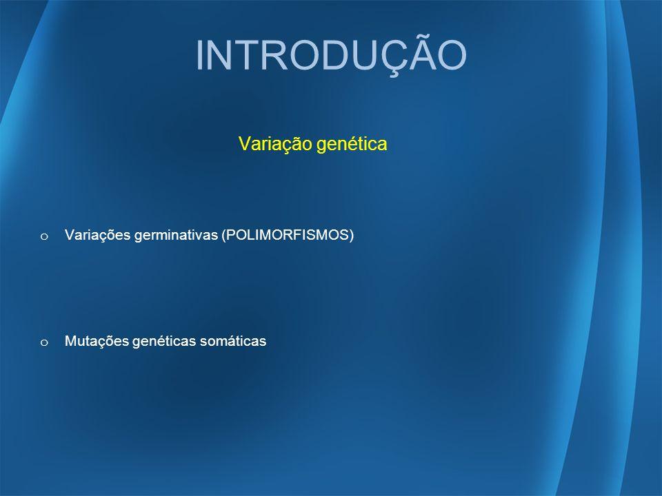 INTRODUÇÃO Variação genética Variações germinativas (POLIMORFISMOS)