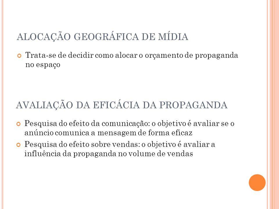 ALOCAÇÃO GEOGRÁFICA DE MÍDIA AVALIAÇÃO DA EFICÁCIA DA PROPAGANDA
