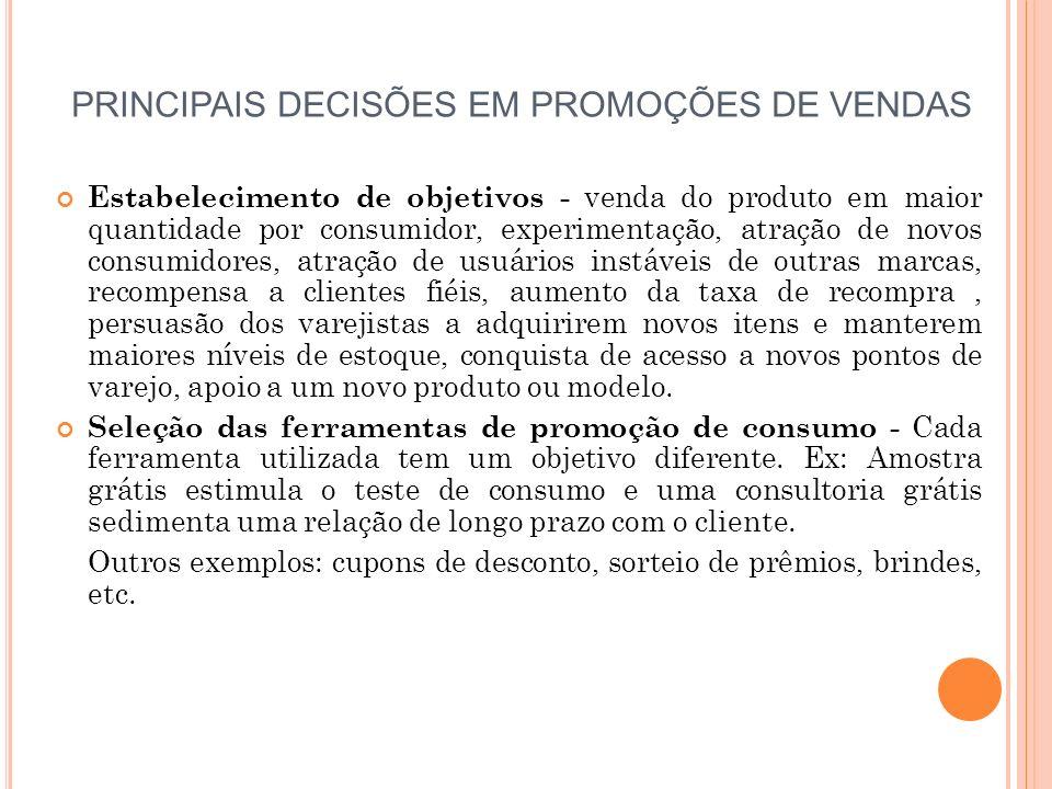 PRINCIPAIS DECISÕES EM PROMOÇÕES DE VENDAS