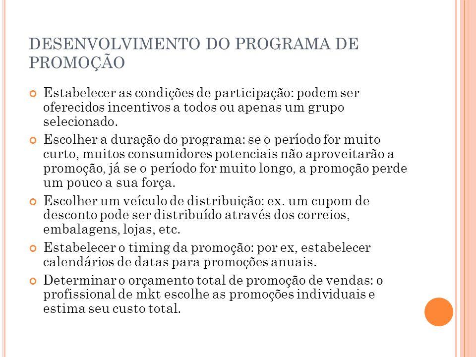 DESENVOLVIMENTO DO PROGRAMA DE PROMOÇÃO