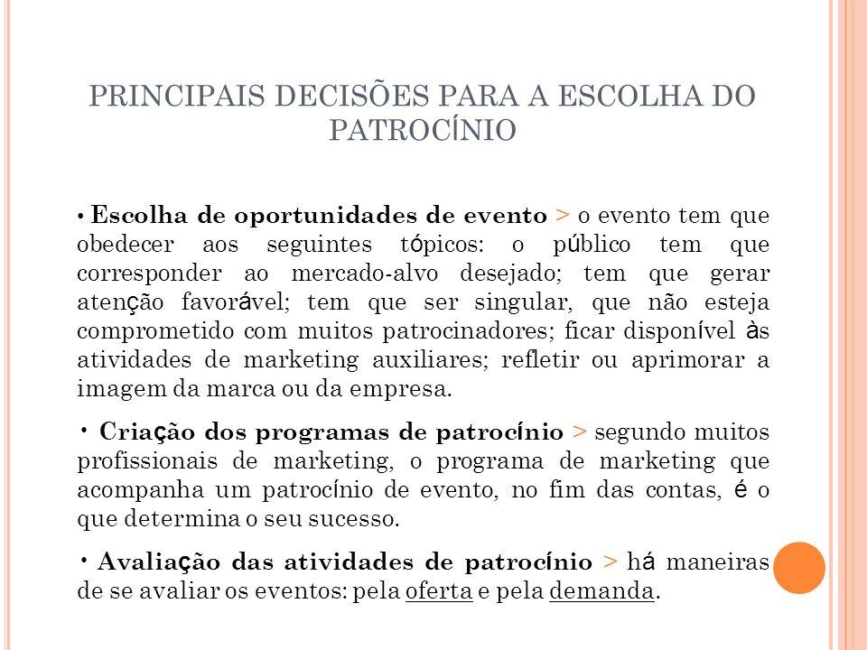 PRINCIPAIS DECISÕES PARA A ESCOLHA DO PATROCÍNIO