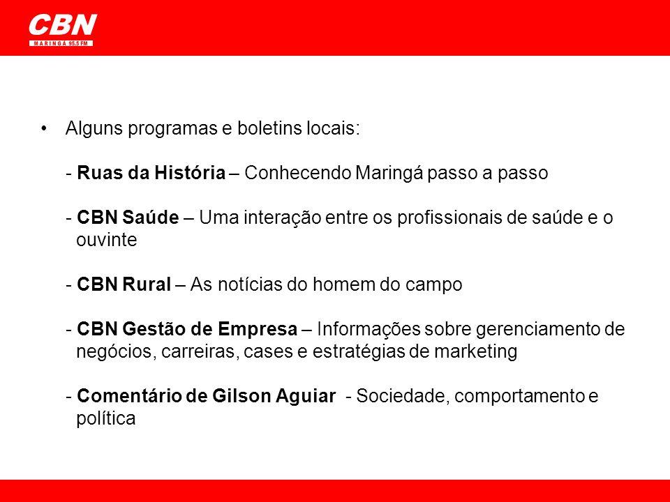 CBN M A R I N G Á 95.5 FM Alguns programas e boletins locais: