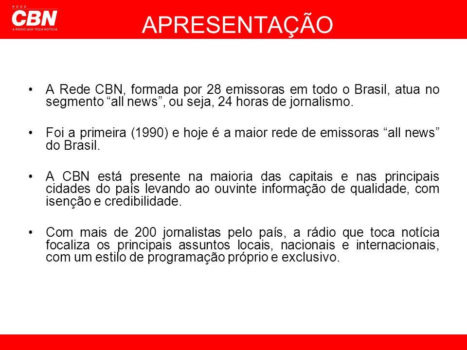 APRESENTAÇÃO A Rede CBN, formada por 28 emissoras em todo o Brasil, atua no segmento all news , ou seja, 24 horas de jornalismo.