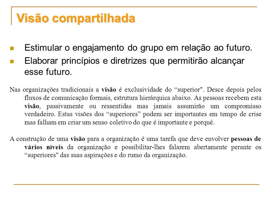 Visão compartilhada Estimular o engajamento do grupo em relação ao futuro. Elaborar princípios e diretrizes que permitirão alcançar esse futuro.