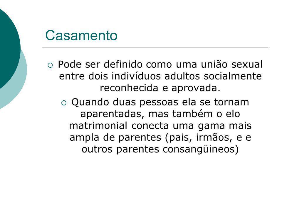 Casamento Pode ser definido como uma união sexual entre dois indivíduos adultos socialmente reconhecida e aprovada.