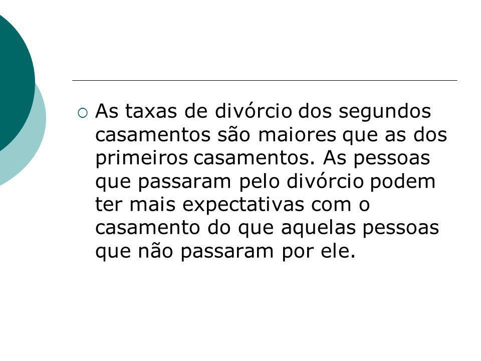 As taxas de divórcio dos segundos casamentos são maiores que as dos primeiros casamentos.