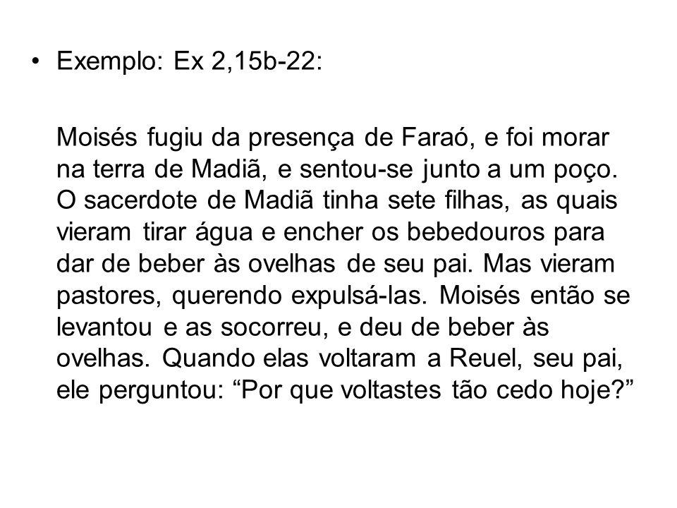 Exemplo: Ex 2,15b-22: