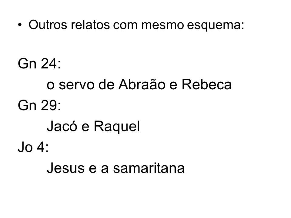 o servo de Abraão e Rebeca Gn 29: Jacó e Raquel Jo 4: