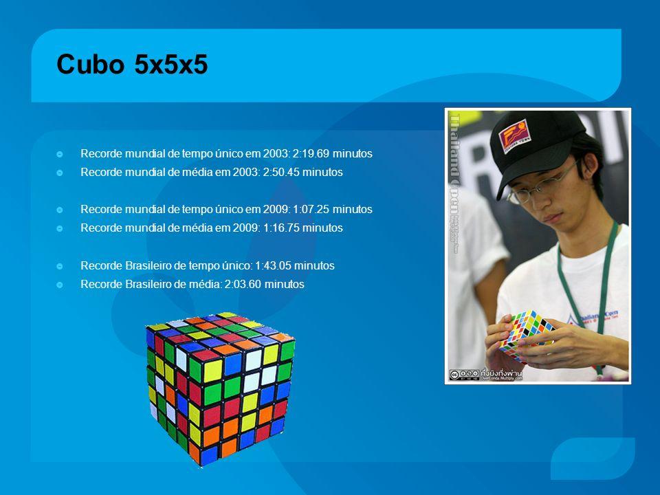 Cubo 5x5x5 Recorde mundial de tempo único em 2003: 2:19.69 minutos