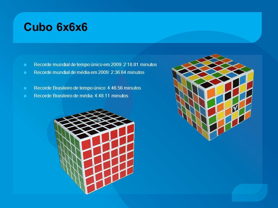 Cubo 6x6x6 Recorde mundial de tempo único em 2009: 2:18.81 minutos
