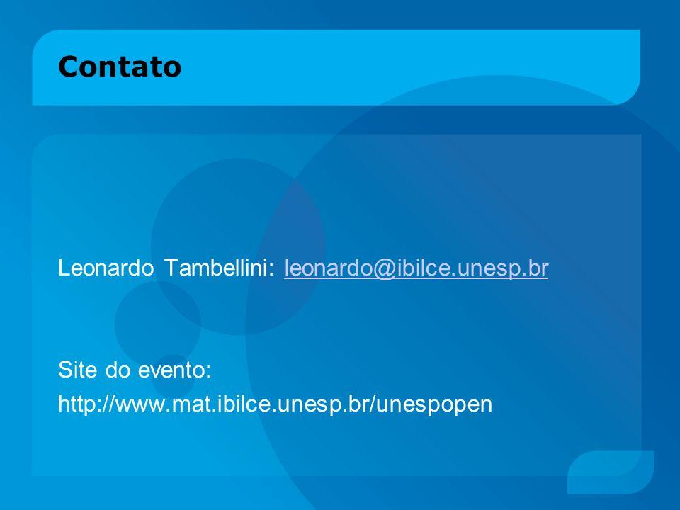 Contato Leonardo Tambellini: leonardo@ibilce.unesp.br Site do evento:
