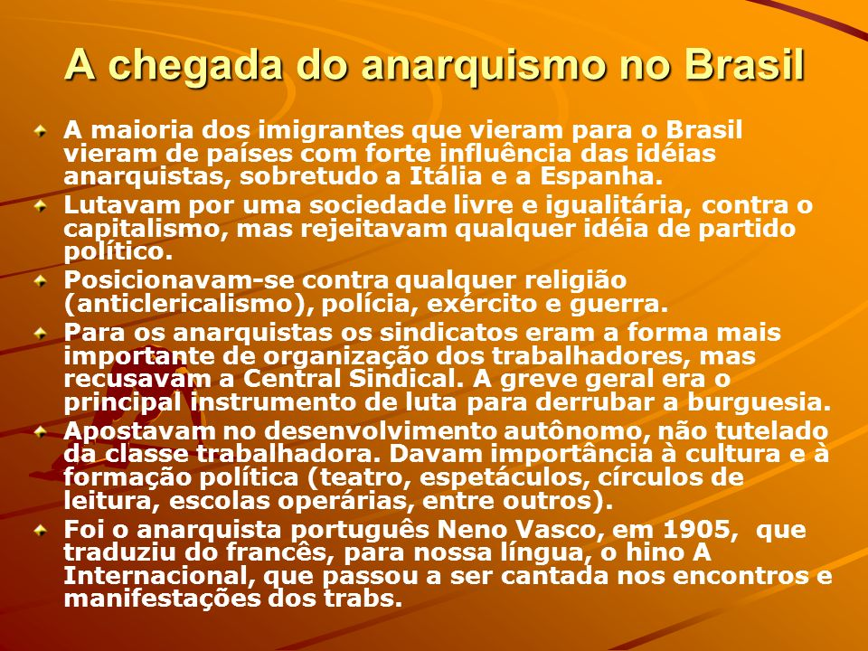A chegada do anarquismo no Brasil