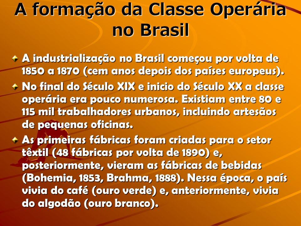 A formação da Classe Operária no Brasil