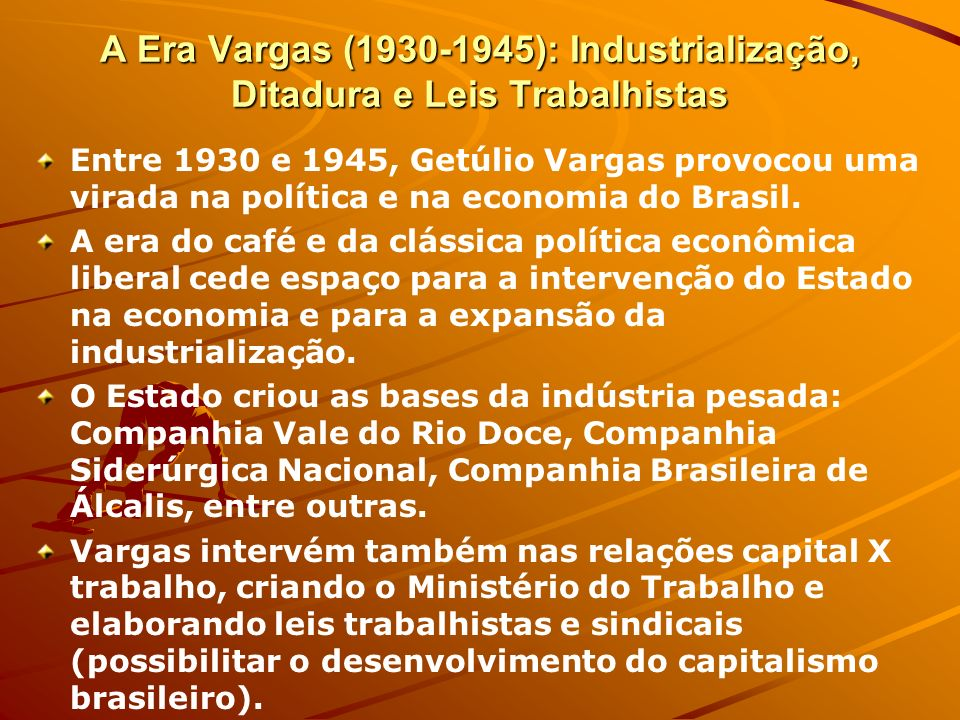 A Era Vargas (1930-1945): Industrialização, Ditadura e Leis Trabalhistas