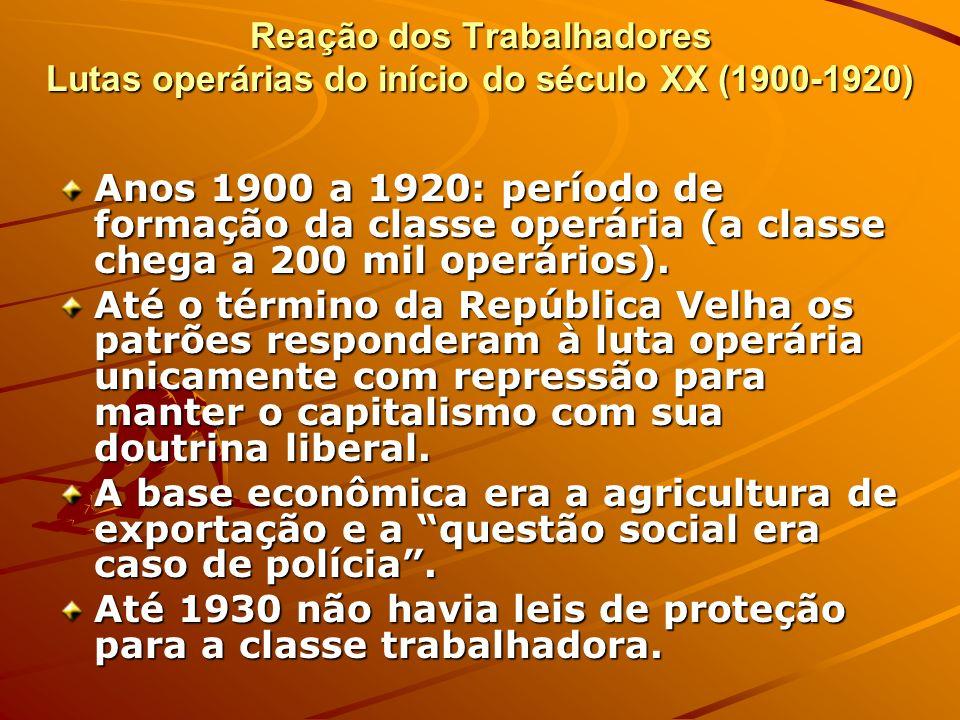 Até 1930 não havia leis de proteção para a classe trabalhadora.