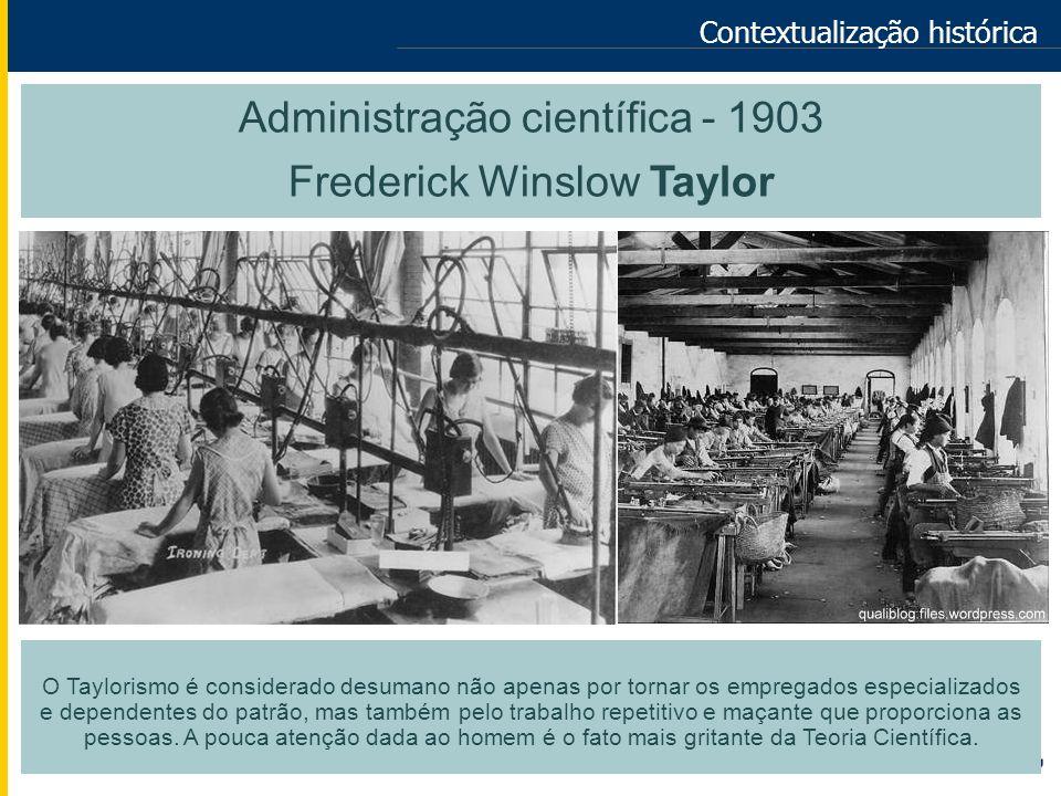 Administração científica - 1903 Frederick Winslow Taylor