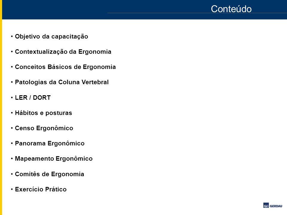 Conteúdo Objetivo da capacitação Contextualização da Ergonomia