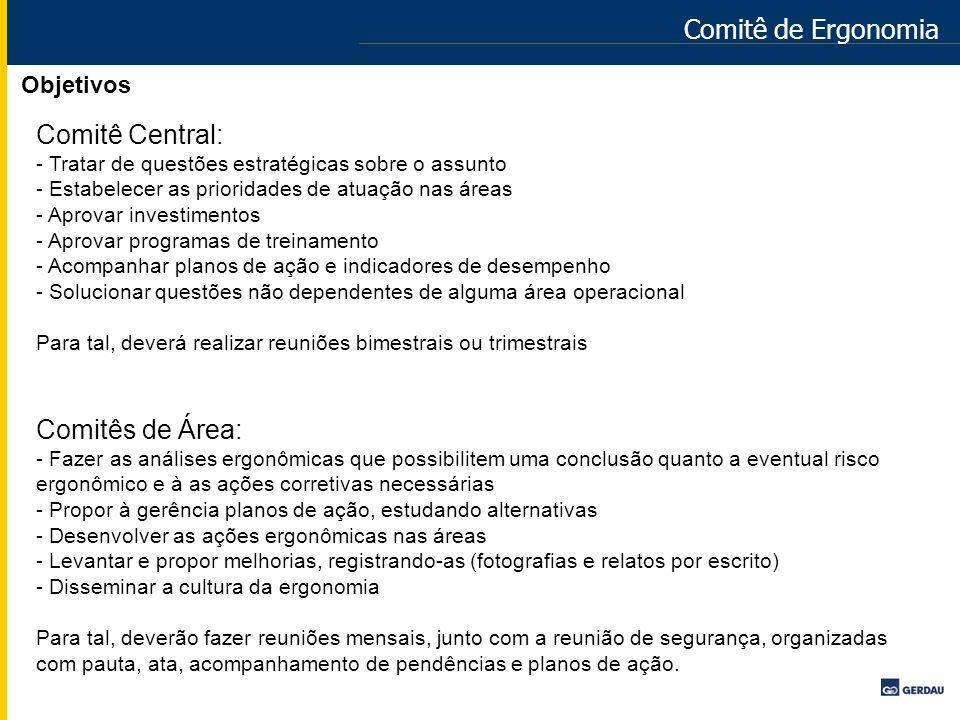 Comitê de Ergonomia Comitê Central: Comitês de Área: Objetivos